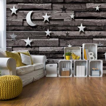 3D Stars And Moon Wood Plank Texture Grey Photo Wallpaper Wall Mural