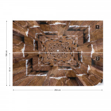 3D Tunnel Brown Photo Wallpaper Wall Mural