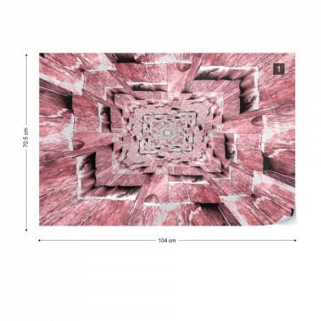 3D Tunnel Pink Photo Wallpaper Wall Mural