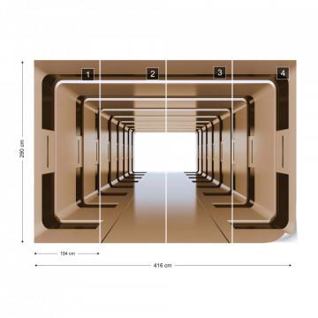 3D Tunnel Spaceship Photo Wallpaper Wall Mural