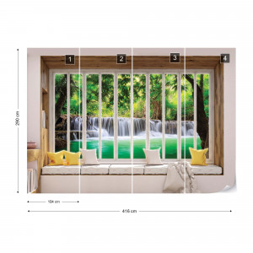 3D Window View Forest Waterfall Photo Wallpaper Wall Mural