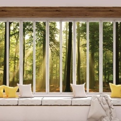 3D Window View Sunlight Forest Photo Wallpaper Wall Mural