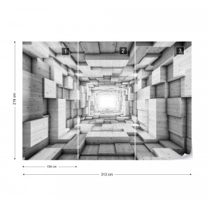 3D Wood Tunnel Optical Illusion Black And White Photo Wallpaper Wall Mural