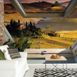 Tuscan Countryside 3D Skylight Window View Photo Wallpaper Wall Mural