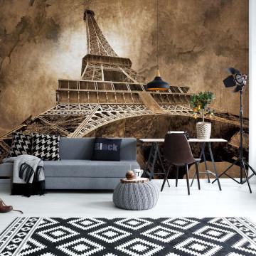Paris Eiffel Tower Sepia Photo Wallpaper Wall Mural