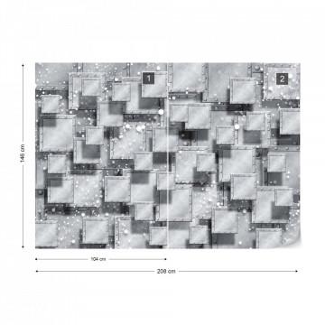 Abstract 3D Design Squares Grey Photo Wallpaper Wall Mural