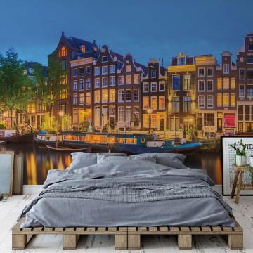 Amsterdam At Night Photo Wallpaper Wall Mural