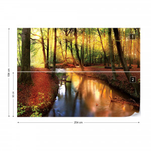 Autumn Forest River Nature Photo Wallpaper Wall Mural