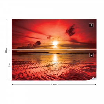Beach Sunset Coastal Photo Wallpaper Wall Mural