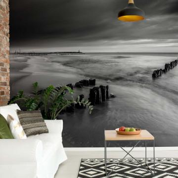 Beach Sunset Sea Black And White Photo Wallpaper Wall Mural