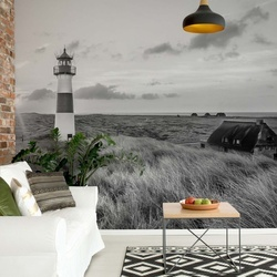 Black And White Coastal Dunes Lighthouse Photo Wallpaper Wall Mural