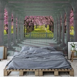 Blossoming Trees 3D View Through Columns Photo Wallpaper Wall Mural