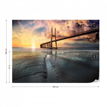 Bridge Beach Modern Architecture Sunset Photo Wallpaper Wall Mural