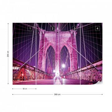 Brooklyn Bridge New York Purple Photo Wallpaper Wall Mural