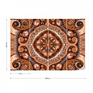 Brown And Orange Pattern Photo Wallpaper Wall Mural
