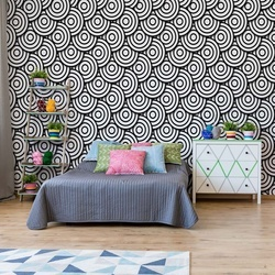 Circles Waves Pattern Black And White Photo Wallpaper Wall Mural