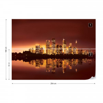 City Skyline At Sunset Orange Photo Wallpaper Wall Mural