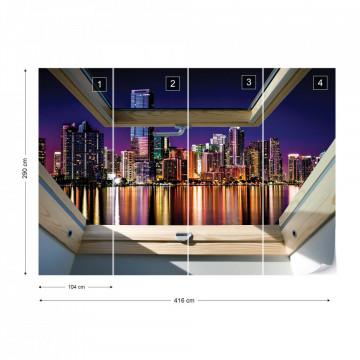 City Skyline Night 3D Skylight Window View Photo Wallpaper Wall Mural