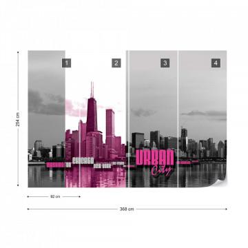 City Skyline Pink Photo Wallpaper Wall Mural