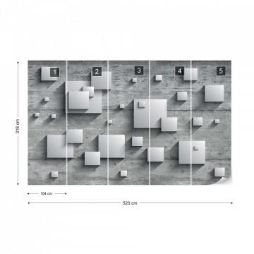 Concrete Squares 3D Photo Wallpaper Wall Mural