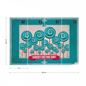 Cupcakes Turquoise Retro Photo Wallpaper Wall Mural