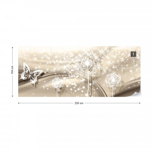 Dandelions And Butterflies Modern Design Sparkles Champagne Colour Photo Wallpaper Wall Mural