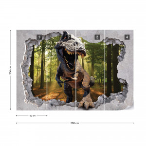 Dinosaur 3D Jumping Out Of Hole In Wall Photo Wallpaper Wall Mural