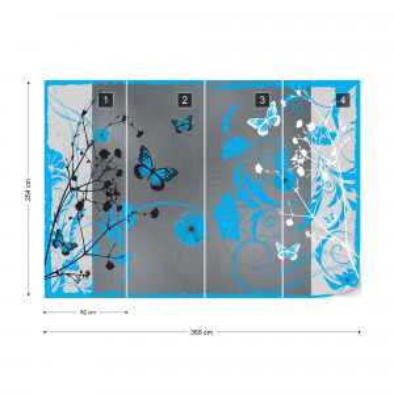 Flowers And Butterflies Modern Design Blue Photo Wallpaper Wall Mural