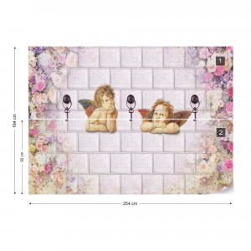 Flowers Cherubs Classical Design Photo Wallpaper Wall Mural