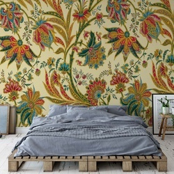 Flowers Plants Vintage Pattern Photo Wallpaper Wall Mural