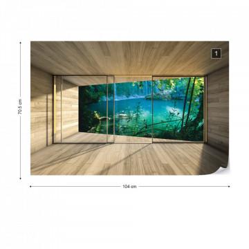 Forest Lake 3D Modern Window View Photo Wallpaper Wall Mural