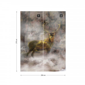 Forest Stag In The Mist Photo Wallpaper Wall Mural