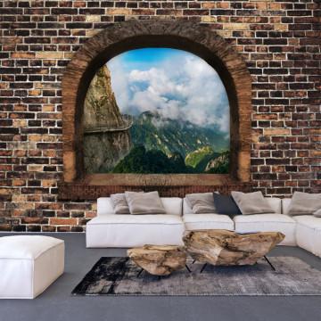 Fototapet autoadeziv - Stony Window: Mountains