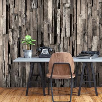 Fototapet autoadeziv - Wooden Curtain (Dark Brown)