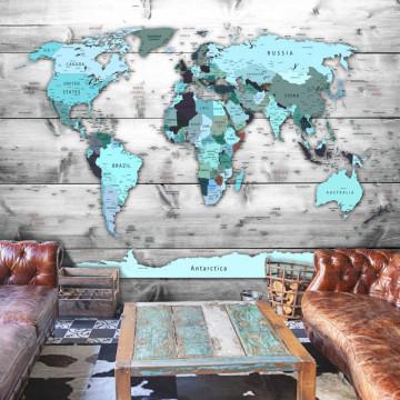 Fototapet autoadeziv - World Map: Blue Continents