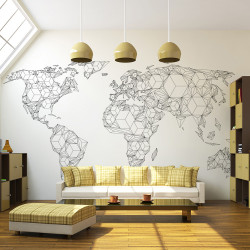 Fototapet - Map of the World - white solids