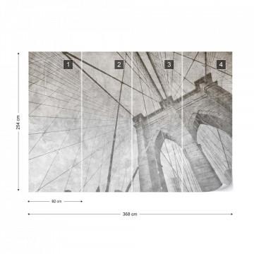 Fototapet - Podul Brooklyn – Efect Grafic Alb-Negru