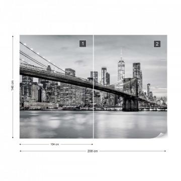Fototapet - Podul Brooklyn NYC – Alb-Negru