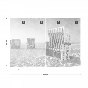 Fototapet - Relaxare pe Plajă – Alb-Negru