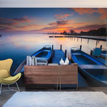 Fototapet - Sunset, boats and jetty
