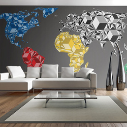 Fototapet XXL - Map of the World - colorful solids