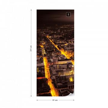 Frankfurt City Skyline At Night Photo Wallpaper Wall Mural