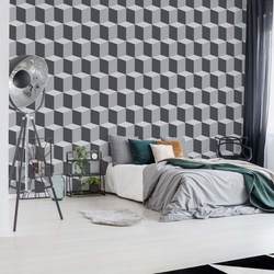 Geometric Design White And Grey Photo Wallpaper Wall Mural