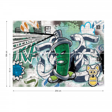 Graffiti Street Art Green Photo Wallpaper Wall Mural