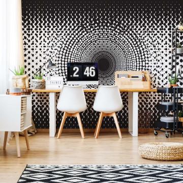 Halftone Dots Circle Pattern Black And White Photo Wallpaper Wall Mural
