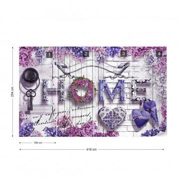 Home Purple Flowers Vintage Farmhouse Chic Photo Wallpaper Wall Mural