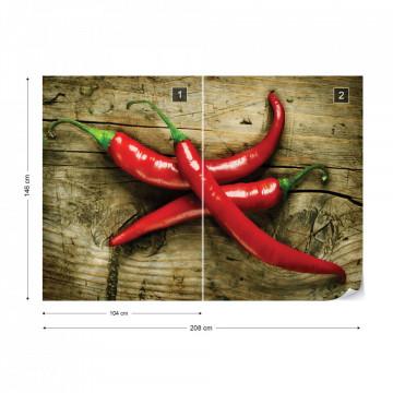 Hot Chillies Food Wood Texture Photo Wallpaper Wall Mural