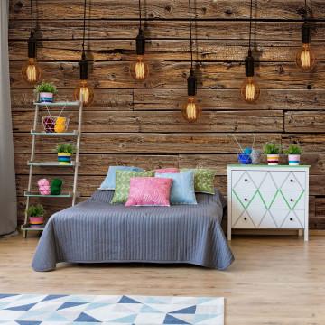 Industrial Chic Retro Light Bulbs Wood Texture Photo Wallpaper Wall Mural