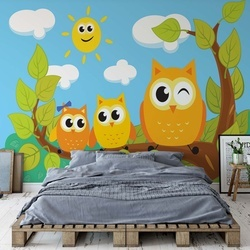 Kid'S Cartoon Owls In Tree Photo Wallpaper Wall Mural
