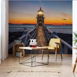 Lighthouse At Sunset Photo Wallpaper Wall Mural